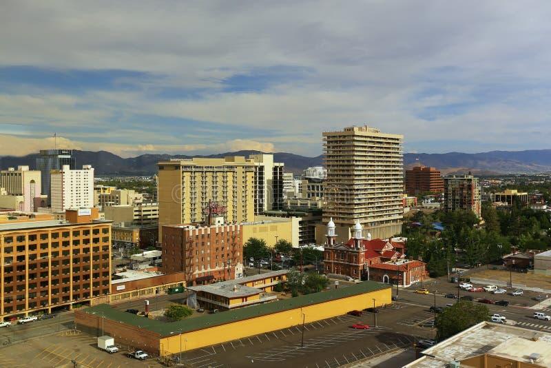 Vista aérea de Reno do centro, Nevada foto de stock royalty free