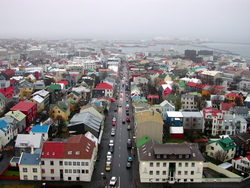 Vista aérea de Reykjavik foto de archivo