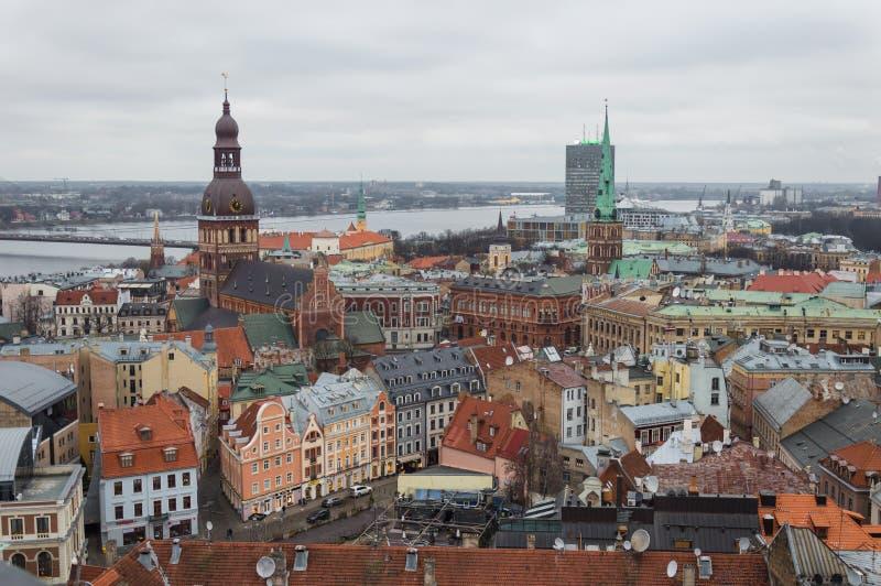 Vista aérea de Riga Letonia foto de archivo libre de regalías