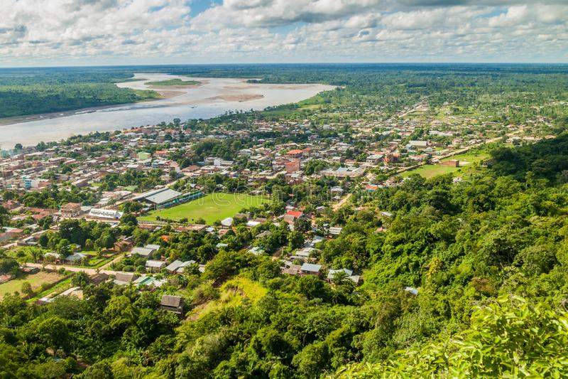 Vista aérea de Rurrenabaque imagenes de archivo