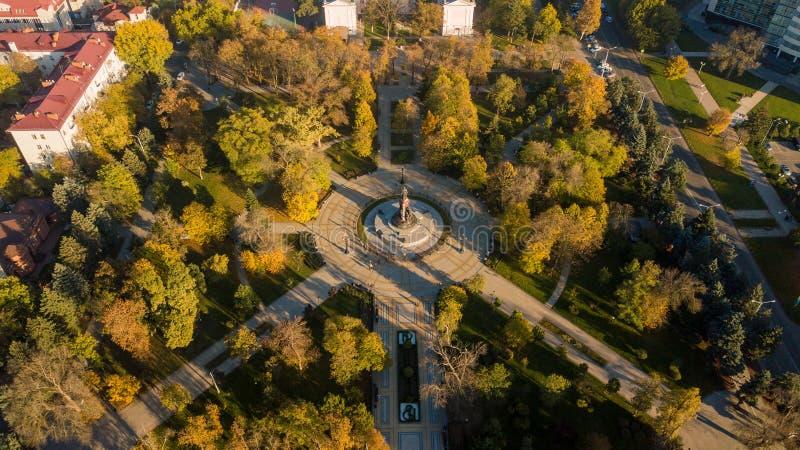 Vista aérea de Rusia del sur, Krasnodar Krai, ciudad de Krasnodar en 2018 fotografía de archivo