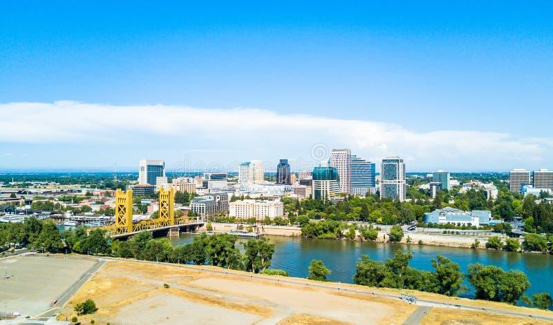 Vista aérea de Sacramento do centro imagens de stock
