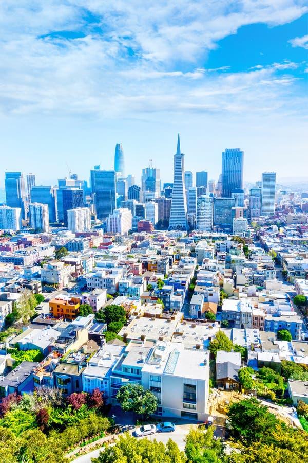 Vista aérea de San Francisco Downtown Skyline y de Dist financiero fotos de archivo