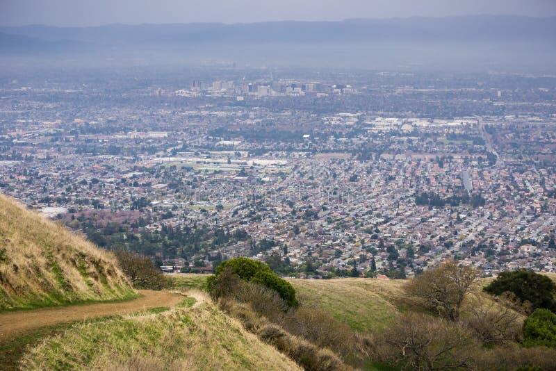 Vista aérea de San Jose, Califórnia imagens de stock