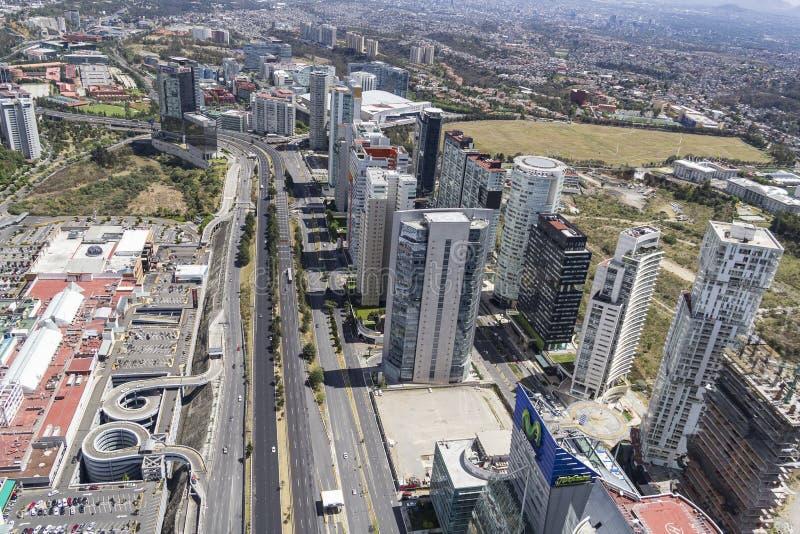 Vista aérea de Santa Fé em Cidade do México imagens de stock