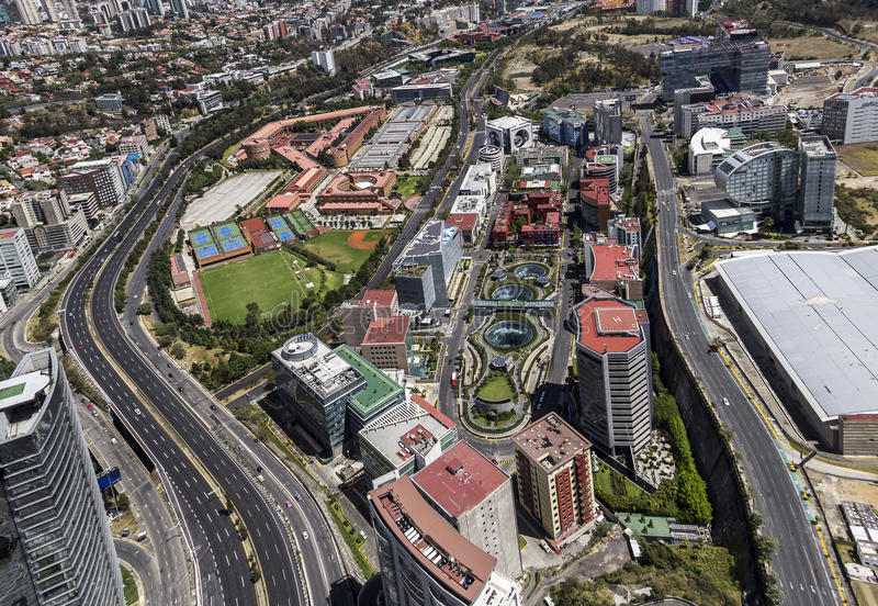 Vista aérea de Santa Fé em Cidade do México fotografia de stock