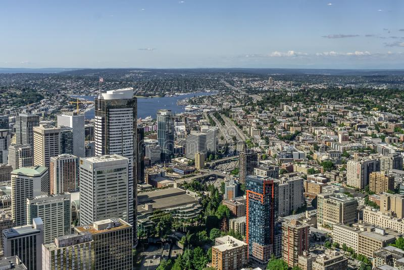 Vista aérea de Seattle do centro imagens de stock