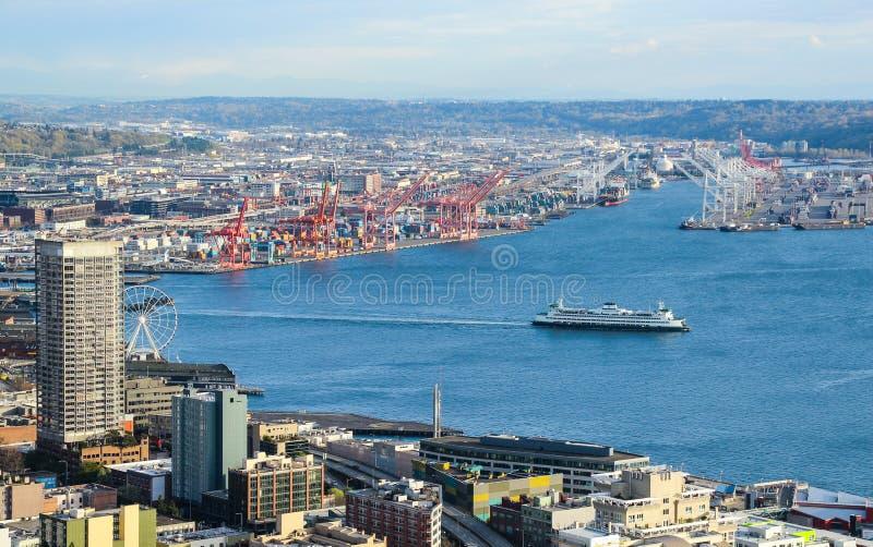 Vista aérea de Seattle do centro fotos de stock
