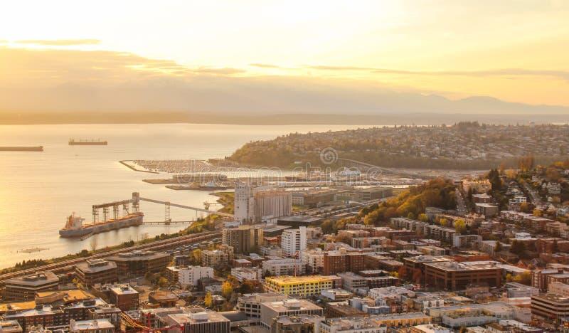 Vista aérea de Seattle do centro foto de stock royalty free