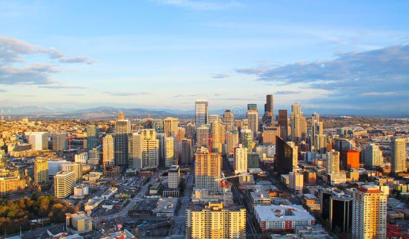 Vista aérea de Seattle do centro foto de stock