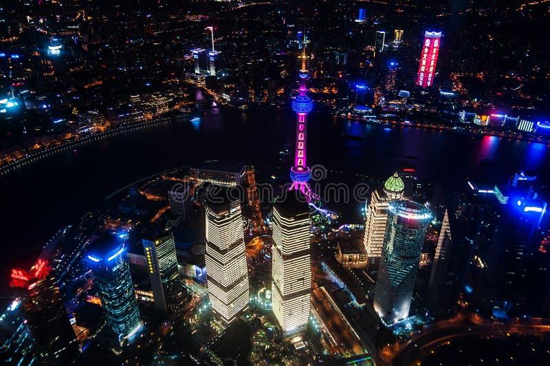 Vista aérea de shanghai na noite da torre de Shanghai Skyline da cidade de Shanghai, vista panorâmica da skyline da cidade de sha fotografia de stock