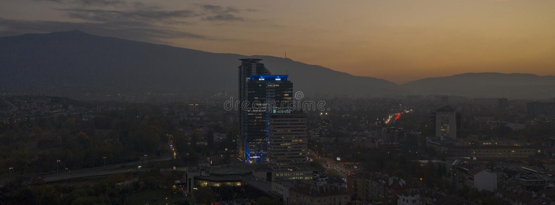 Vista aérea de Sofía, Bulgaria, el 21 de octubre de 2018 imágenes de archivo libres de regalías