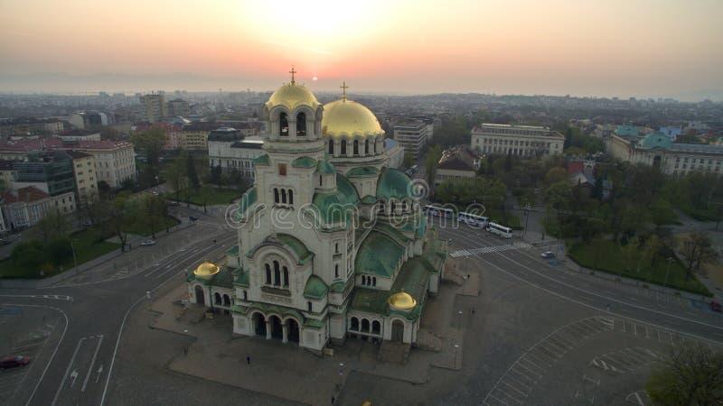 Vista aérea de St Alexander Nevsky Cathedral, Sofía, Bulgaria fotos de archivo libres de regalías