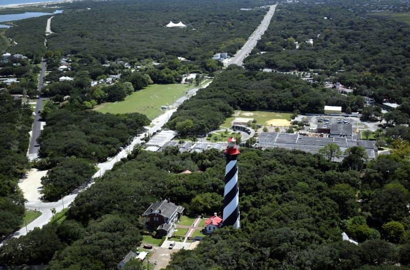 Vista aérea de St Augustine Fl, farol fotografia de stock royalty free