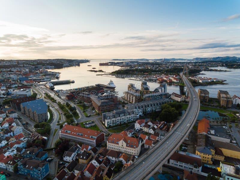 Vista aérea de Stavanger, Noruega imagen de archivo libre de regalías
