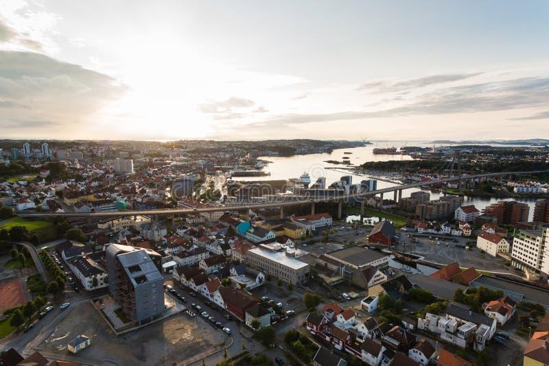 Vista aérea de Stavanger, Noruega fotografía de archivo libre de regalías