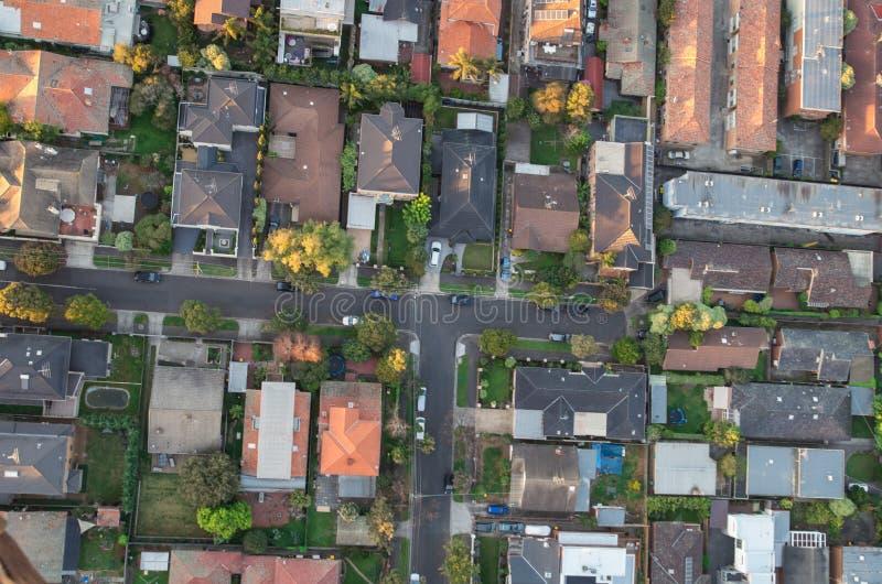 Vista aérea de suburbios fotografía de archivo