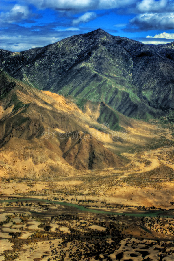 Vista aérea de Tíbet foto de archivo