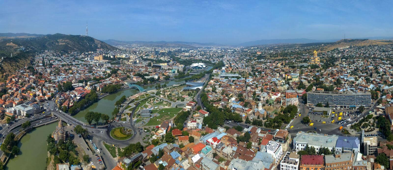 Vista aérea de Tbilisi imagem de stock