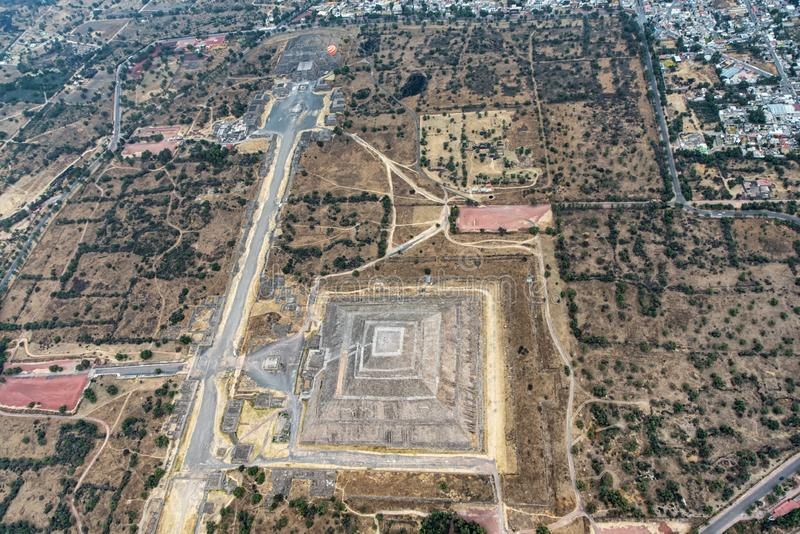 Vista aérea de Teotihuacan foto de stock