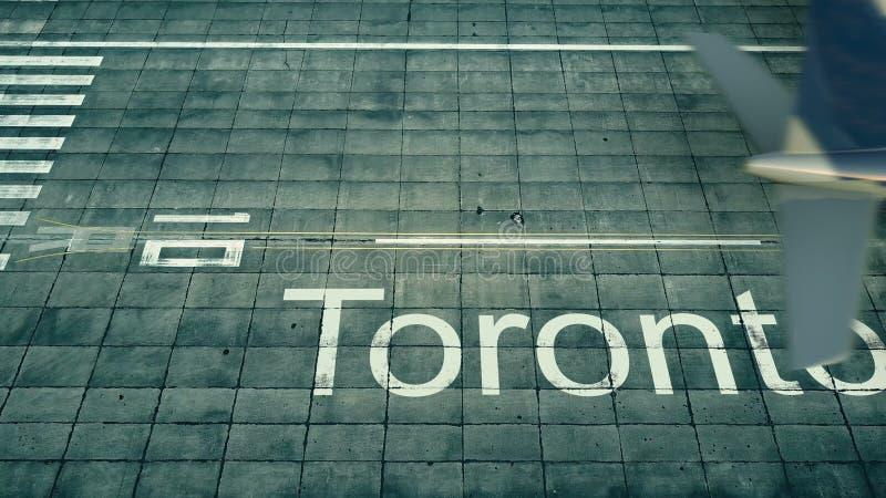 Vista aérea de um avião que chega ao aeroporto de Toronto Curso à rendição de Canadá 3D ilustração royalty free