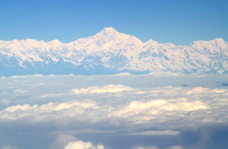 Vista aérea de um avião sobre o moun dos Himalayas e do Everest fotografia de stock royalty free