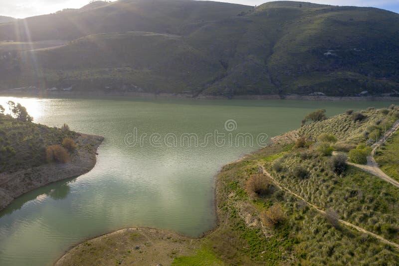 Vista aérea de um lago foto de stock royalty free