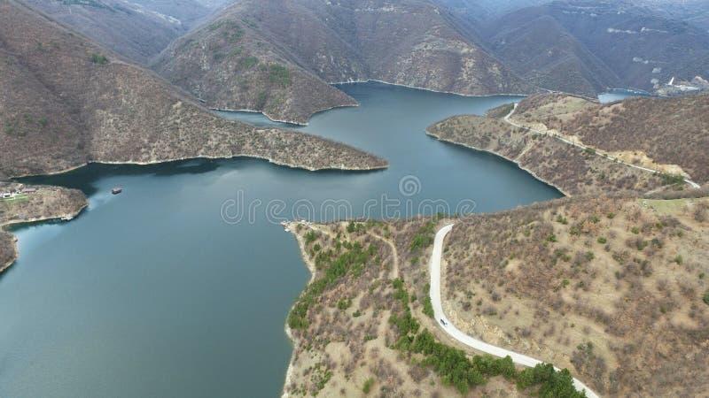 Vista aérea de um lago grande river fotos de stock royalty free