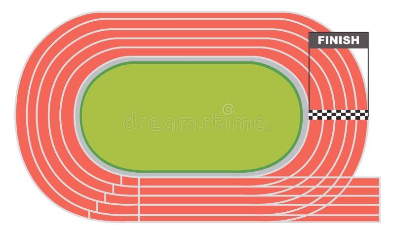 Vista aérea de uma pista de atletismo ilustração royalty free