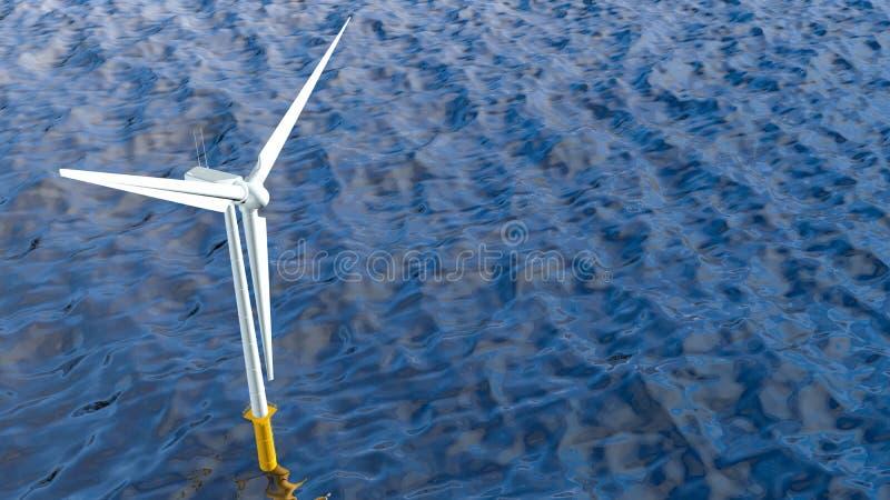 Vista a?rea de uma turbina e?lica branca no meio do oceano durante o dia com o c?u azul nebuloso ilustração stock