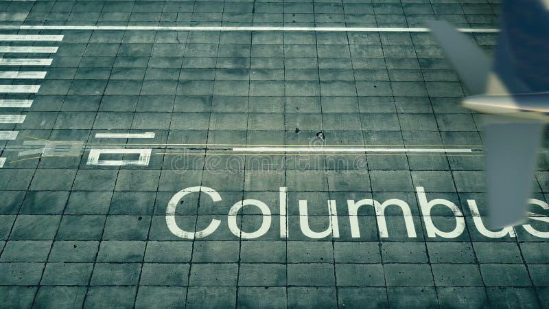 Vista aérea de un aeroplano que llega al aeropuerto de Columbus Viaje a la representación de Estados Unidos 3D libre illustration