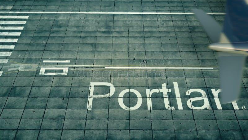 Vista aérea de un aeroplano que llega al aeropuerto de Portland Viaje a la representación de Estados Unidos 3D libre illustration