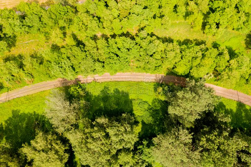 Vista aérea de un pájaro sobre las vías del ferrocarril y el bosque Vista aérea foto de archivo libre de regalías