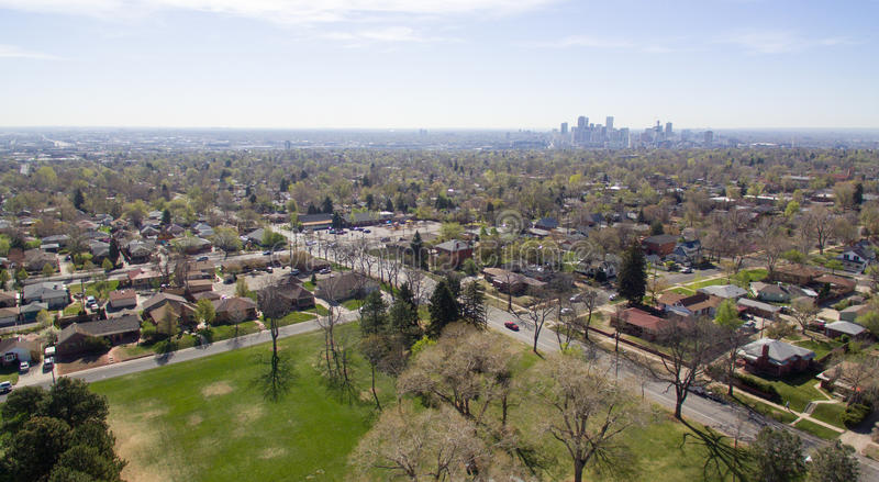 Vista aérea de un parque en Denver Colorado fotos de archivo libres de regalías