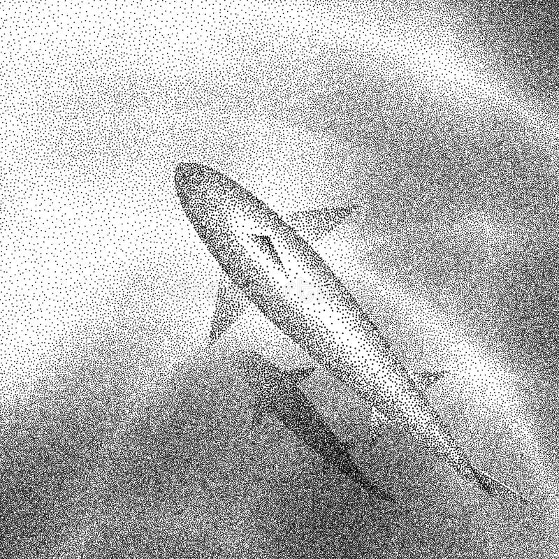 Vista aérea de una natación del tiburón en agua clara ilustración del vector