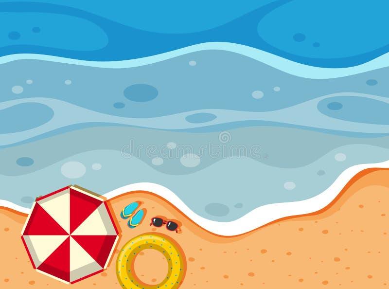 Vista aérea de una playa ilustración del vector