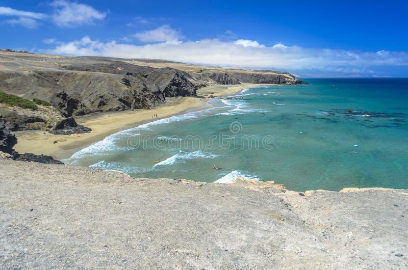 Vista aérea de una playa en Fuerteventura, islas Canarias fotografía de archivo libre de regalías