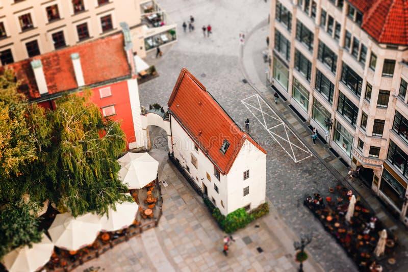 Vista aérea de una plaza del mercado en Wroclaw, Polonia foto de archivo