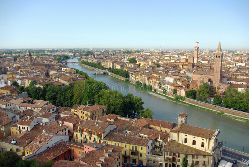 Vista aérea de Verona, Italy fotografia de stock royalty free