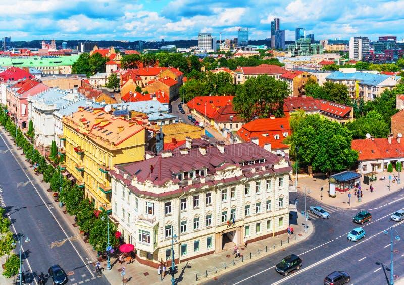 Vista aérea de Vilnius, Lithuania fotografia de stock