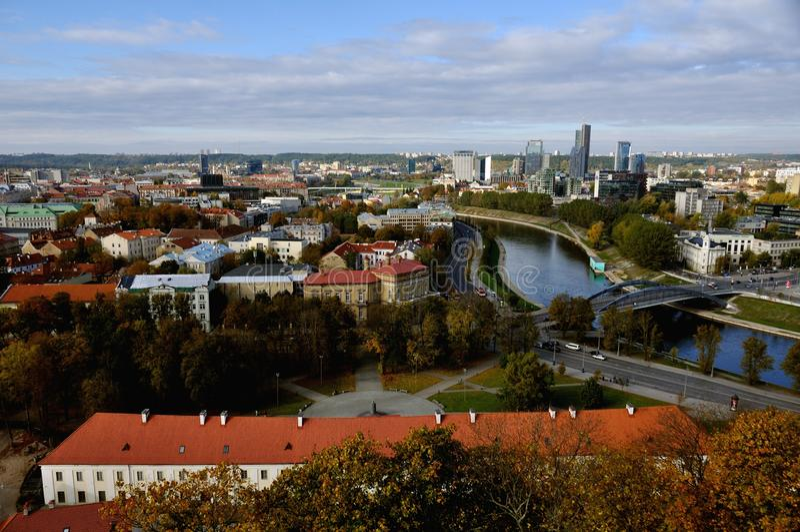 Vista aérea de Vilnius, Lituania imagenes de archivo