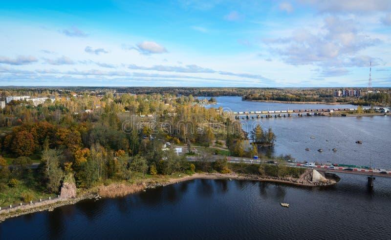 Vista aérea de Vyborg, Rússia fotografia de stock
