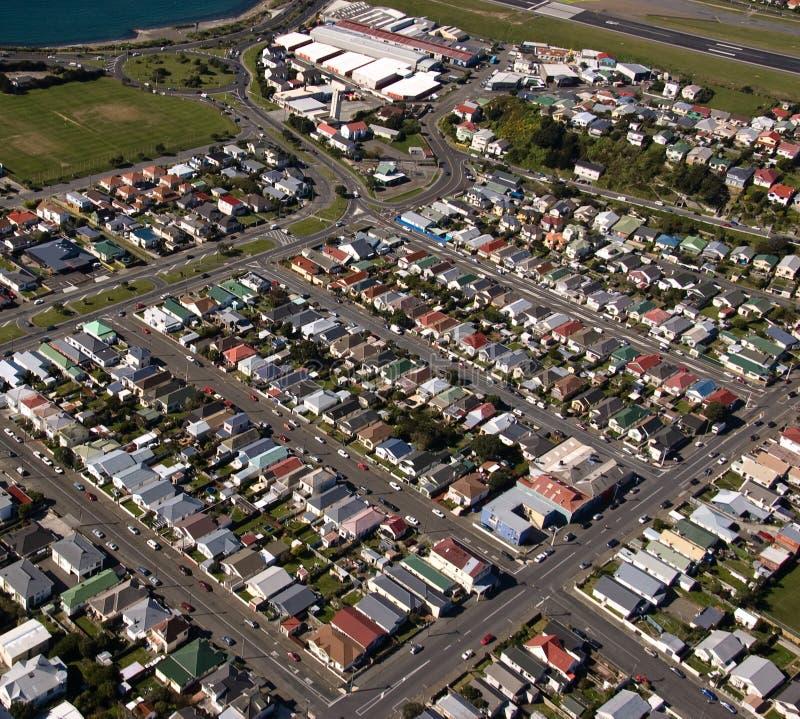 Vista aérea de Wellington, subúrbio de Nova Zelândia fotografia de stock royalty free