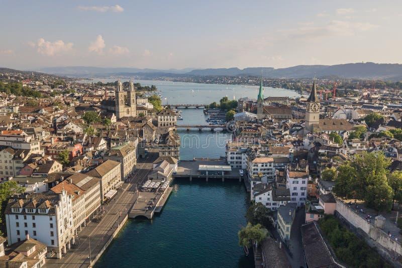 Vista aérea de Zurich fotografía de archivo libre de regalías
