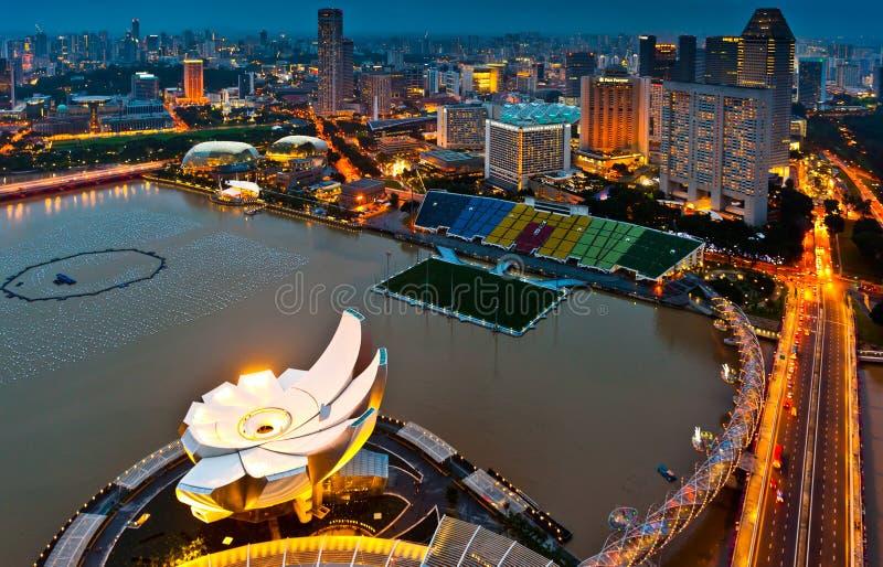 Vista aérea del área de la bahía del puerto deportivo de Singapur foto de archivo
