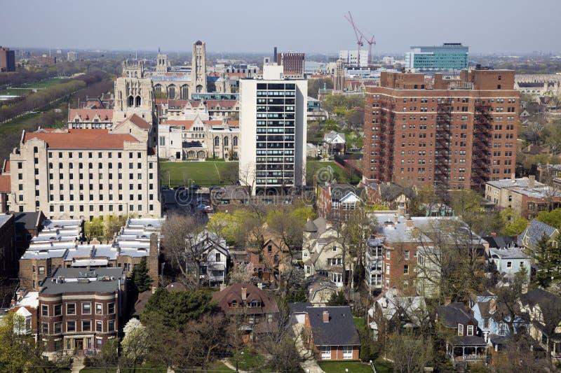Vista aérea del área de la Universidad de Chicago foto de archivo libre de regalías