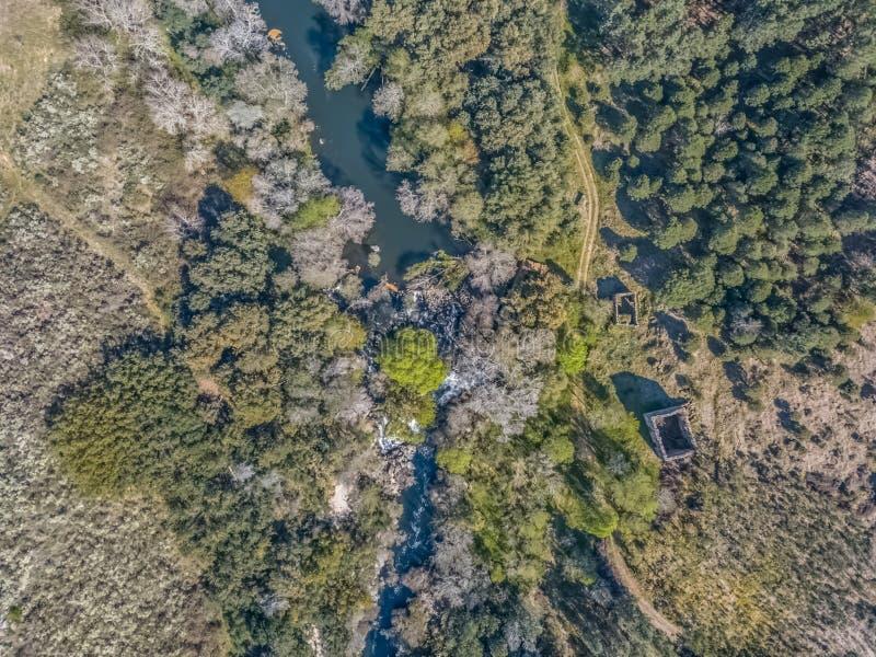 Vista aérea del abejón, del río natural del paisaje con y de árboles coloreados en los bancos fotos de archivo libres de regalías
