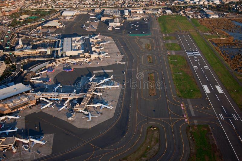 Vista aérea del aeropuerto de Logan foto de archivo libre de regalías