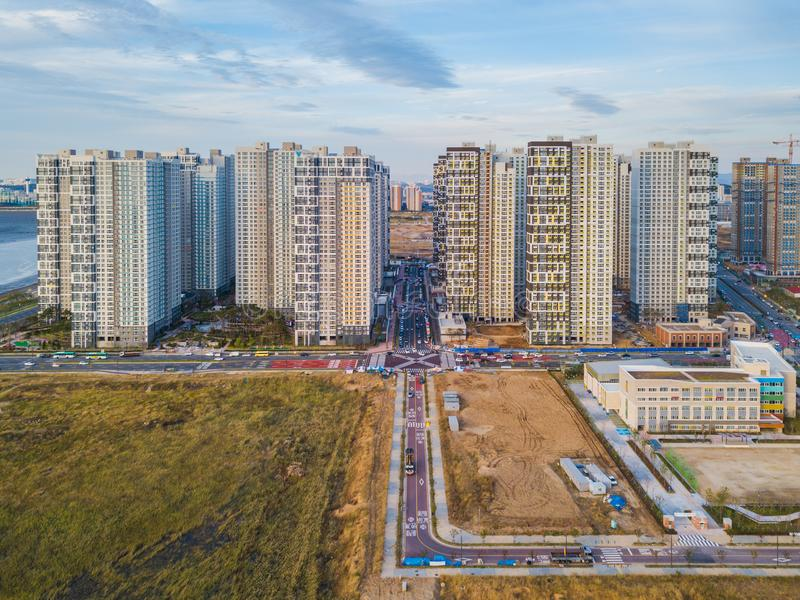 Vista aérea del apartamento en la ciudad de Inchon, Corea del Sur imagen de archivo
