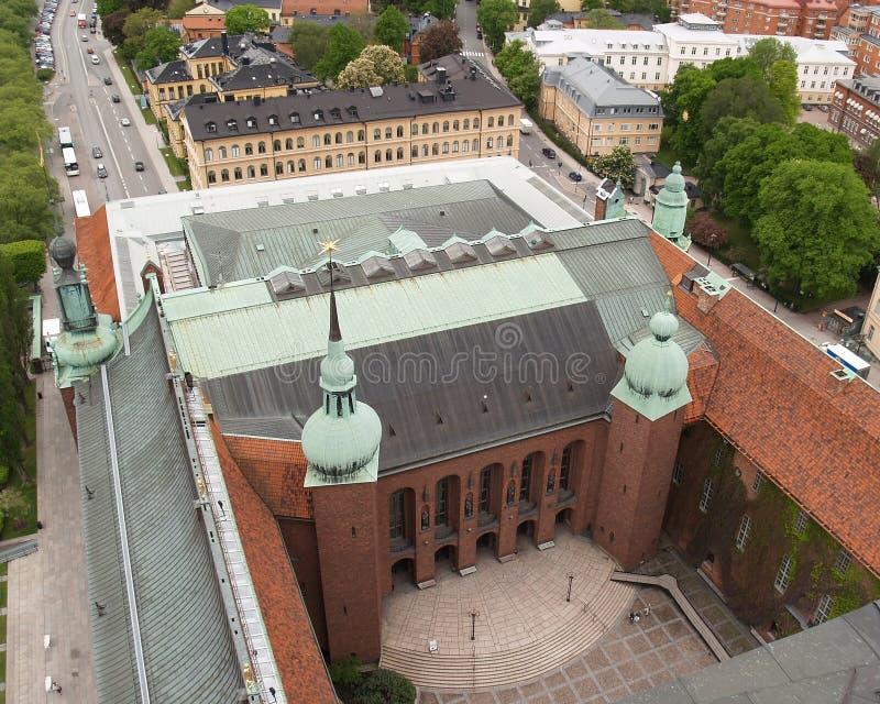 vista aérea del ayuntamiento de Estocolmo imagenes de archivo